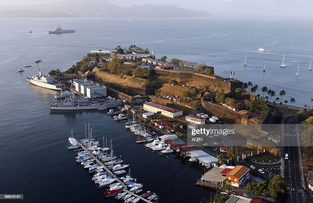 This aerial picture taken on March 16, 2010 shows the naval military base at the port Saint-Louis of the city of Fort-de-France on the French island of La Martinique, in the eastern Caribbean Sea.