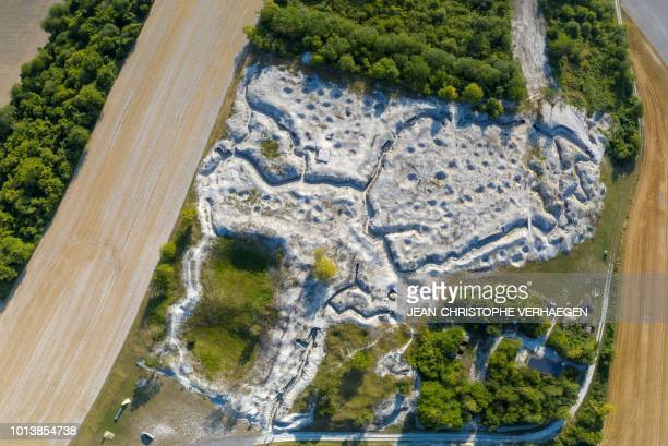 This aerial view created by assembling 3 pictures taken on August 3 2018 shows the WW1 trenches on the crest of Massiges known as Main de Massiges...