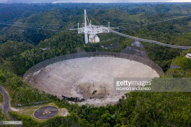 This aerial view shows a hole in the dish panels of the Arecibo Observatory in Arecibo, Puerto Rico, on November 19, 2020. - The National Science...