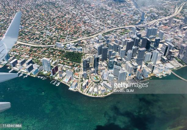 This aerial view shows downtown Miami on May 21, 2019.