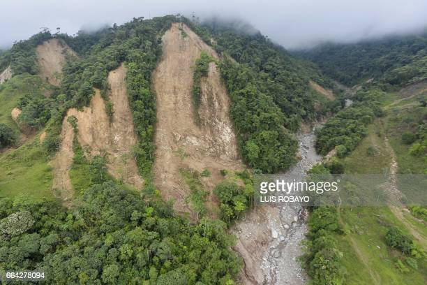 This aerial view shows one of the landslides in the mountains that caused the mudslides as a result of heavy rains in Mocoa Putumayo department...