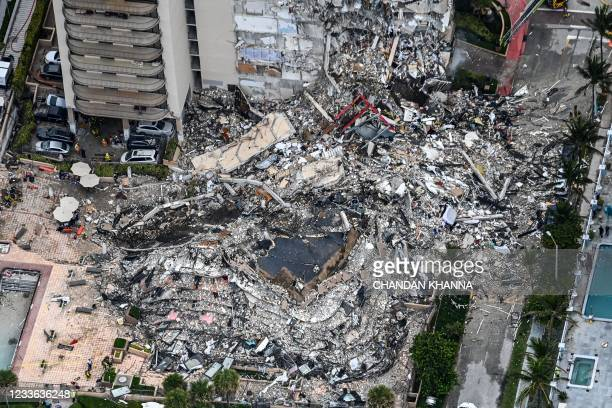 This aerial view, shows search and rescue personnel working on site after the partial collapse of the Champlain Towers South in Surfside, north of...