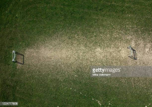 This aerial view shows the amateur soccer field at the Luxemburger Street in district Klettenberg on March 26 2020 in Cologne Germany