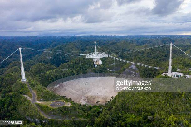 This aerial view shows the Arecibo Observatory in Arecibo, Puerto Rico on November 19, 2020. - The National Science Foundation announced on November...