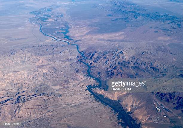 This aerial view shows the Colorado River, south of Las Vegas, on February 6, 2020.