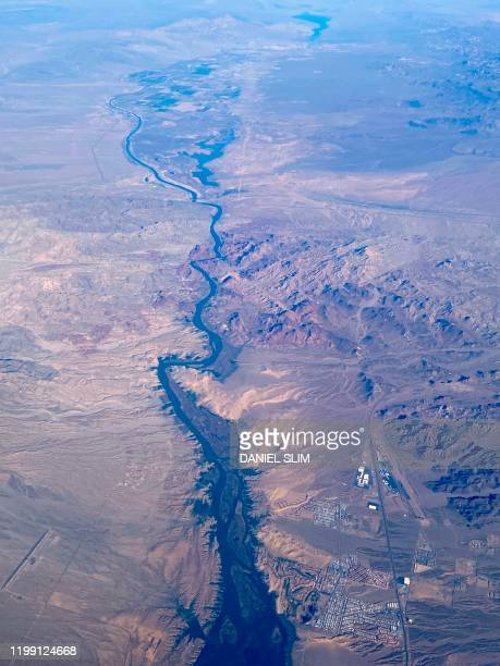 This aerial view shows the Colorado River south of Las Vegas on February 6 2020