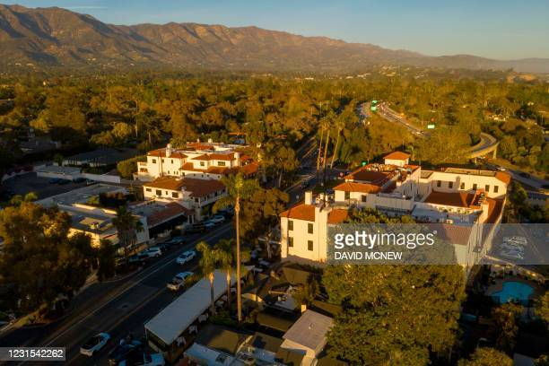 This aerial view shows the commercial center of the new hometown of the Duke and Dutchess of Sussex Harry and Meghan, who recently purchased the...