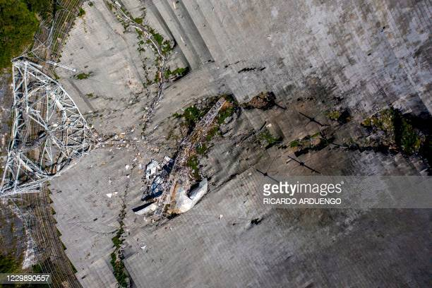 This aerial view shows the damage at the Arecibo Observatory after one of the main cables holding the receiver broke in Arecibo, Puerto Rico, on...