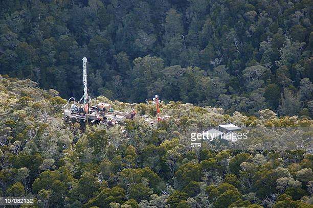 This aerial view shows the drilling rig at the Pike River Coal Mine some 50 kms from Greymouth on November 23 2010 where hopes were fading for the 29...