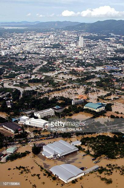 This aerial view shows the flooded southern Thai city of Hat Yai on November 3 2010 Thai troops on November 3 scrambled to reach thousands of people...