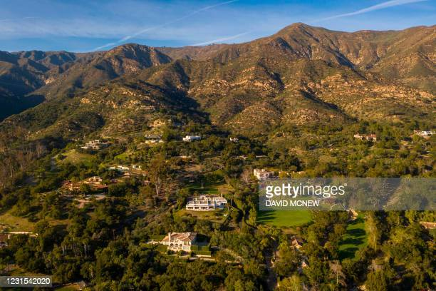 This aerial view shows the general neighborhood of the new hometown of the Duke and Dutchess of Sussex Harry and Meghan, who recently purchased the...