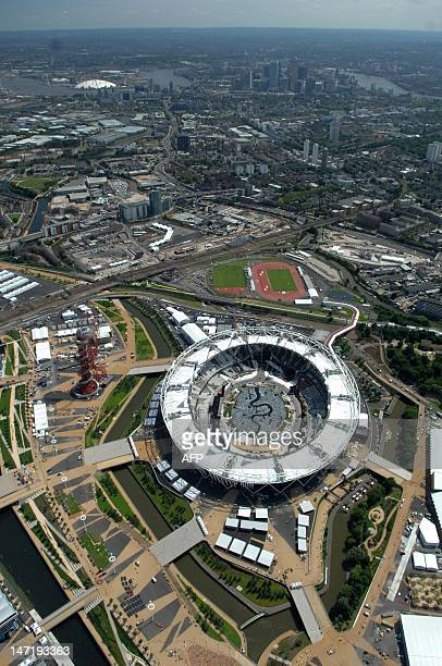This aerial view shows the Olympic Stadium in Olympic Park, London, England on June 20, 2012. The Olympic Stadium is designed to be the centerpiece...