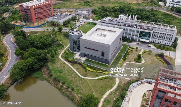 This aerial view shows the P4 laboratory on the campus of the Wuhan Institute of Virology in Wuhan in China's central Hubei province on May 13, 2020....