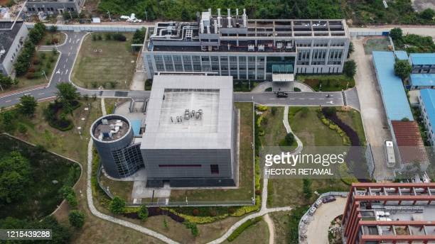 This aerial view shows the P4 laboratory on the campus of the Wuhan Institute of Virology in Wuhan in China's central Hubei province on May 27, 2020....