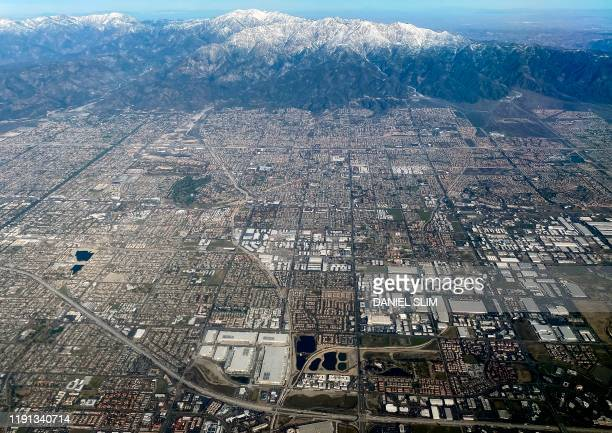 This aerial view shows the San Gabriel Mountains covered in snow near Ontario, California, on January 2, 2020.