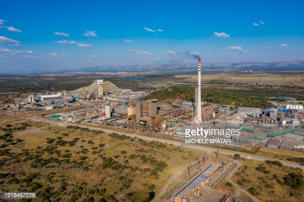 This aerial view shows the SibanyeStillwater platinum mine in Marikana near Rustenburg on May 15 2020 The mines are a critical cog in South Africa's...