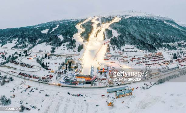 This aerial view shows the slopes and the finish area of Are are pictured during the preparation for the 2019 FIS Ski Championships in Are Sweden on...