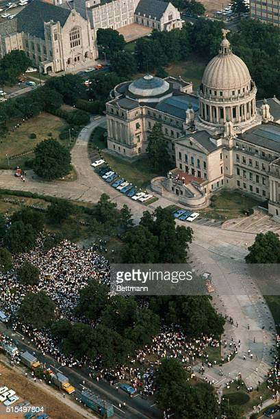 This aerial view taken from behind the Jackson Capitol Building sights the throngs of marchers after reaching their destination Some 25000...