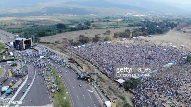 TOPSHOT This aerial view taken from the Colombian side of Tienditas International Bridge at the border between Colombia and Venzuela on February 22...