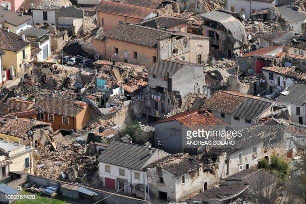 This aerial view taken on April 8, 2009 shows the village of Onna, located at some ten kilometers of the Abruzzo capital L'Aquila, epicentre of a...