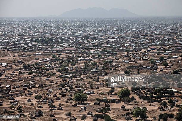 This aerial view taken on January 10 2014 shows central Juba South Sudan South Sudanese troops on January 10 2014 recaptured the key northern oil...