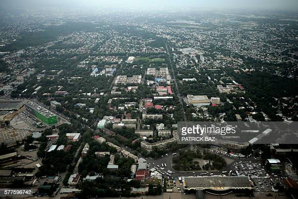This aerial view taken on July 14 2016 shows the capital of Kazakhstan Almaty / AFP / PATRICK BAZ