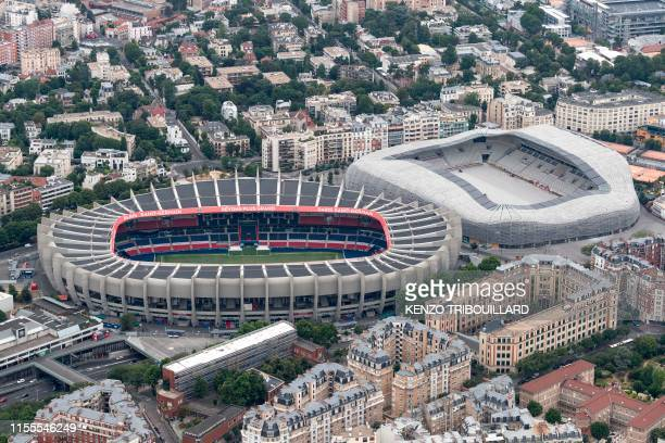 This aerial view taken on July 14, 2019 shows the Jean Bouin stadium and the Parc des Princes stadium.