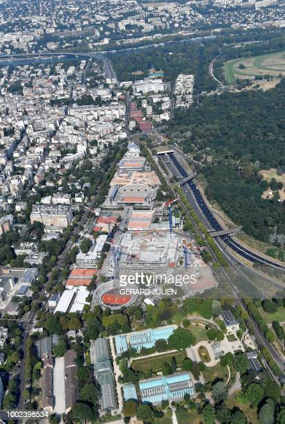 This aerial view taken on July 14 shows the Roland Garros Stadium in BoulogneBillancourt next to Paris