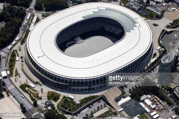 This aerial view taken on July 19, 2021 shows the Olympic Stadium, the main venue for the Tokyo 2020 Olympic Games, in Tokyo.