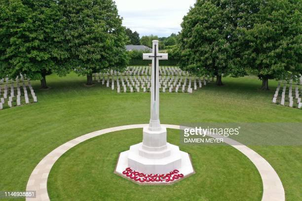This aerial view taken on May 29 2019 shows the Bayeux War Cemetery in Bayeux northwestern France The DDay ceremonies on June 6 will mark the 75th...