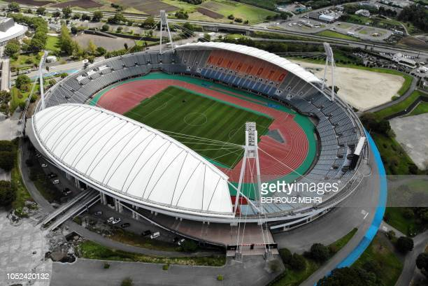 This aerial view taken on October 1, 2018 shows the Kumamoto stadium, one of the 2019 Rugby World Cup venues, in Kumamoto.