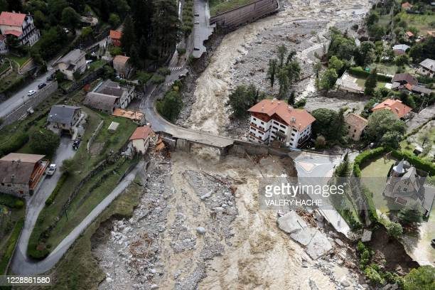 This aerial view taken on October 3, 2020 shows the damage in Saint-Martin-Vesubie, southeastern France, after heavy rains and floodings hit the...