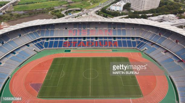 This aerial view taken on September 13 2018 shows the Yokohama International Stadium one of the venues for 2019 Rugby World Cup in Yokohama