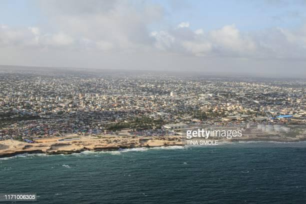 This aerial view taken on September 19 2019 shows Somalia's capital Mogadishu
