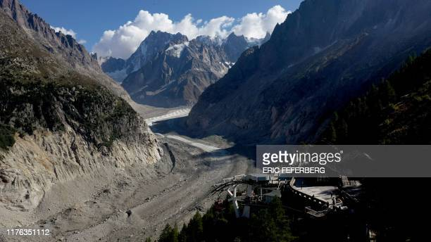 This aerial view taken on September 19 shows the Mer de Glace at the level of the Montenvers station, at the Mont Blanc mountain range, in Chamonix.
