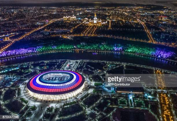 This aerial view taken with a drone shows Luzhniki Stadium and the Moskva River in Moscow on November 4 2017 / AFP PHOTO / DMITRY SEREBRYAKOV