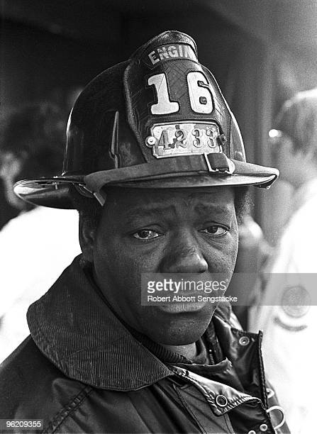 This African American fireman�s face sums up the tragedy at the scene where an older solid steel Illinois Central train crashed into the rear of a...