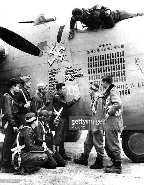 This American B24 Liberator of the 15th Allied Air Force can well be proud of her imposing record It has completed 105 missions against enemy...