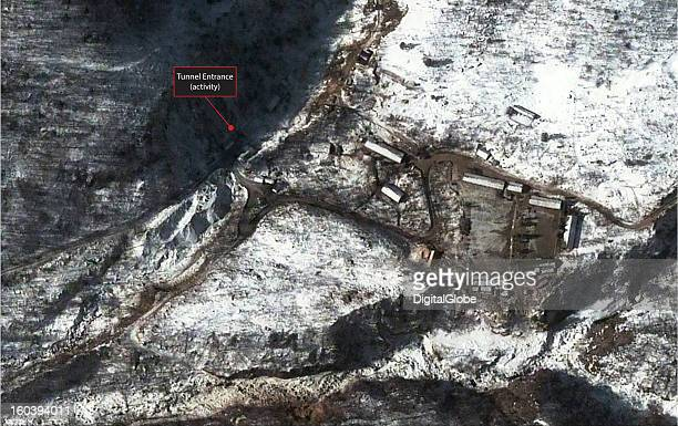 This annotated satellite image of the Punggyeni Nuclear Test Facility in North Korea collected on January 28 2013 confirms media reports that...