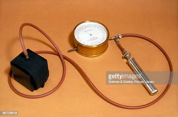 This apparatus was devised by Leonard Hill and Harold Barnard and was produced by J Hicks London A rubber cuff was inflated above the elbow to...