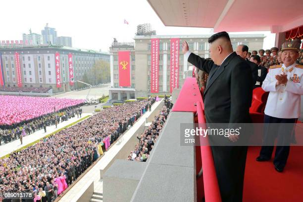 This April 15 2017 picture released from North Korea's official Korean Central News Agency on April 16 2017 shows North Korean leader Kim JongUn...