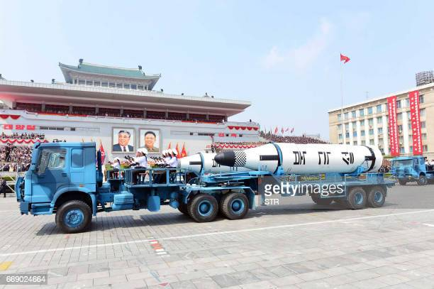 This April 15 2017 picture released from North Korea's official Korean Central News Agency on April 16 2017 shows Korean People's Polaris missiles...