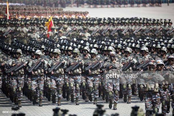 This April 15 2017 picture released from North Korea's official Korean Central News Agency on April 16 2017 shows Korean People's Army soldiers...