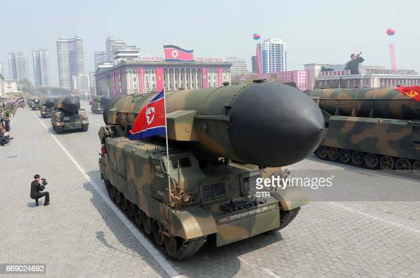 This April 15, 2017 picture released from North Korea's official Korean Central News Agency on April 16, 2017 shows Korean People's ballistic...