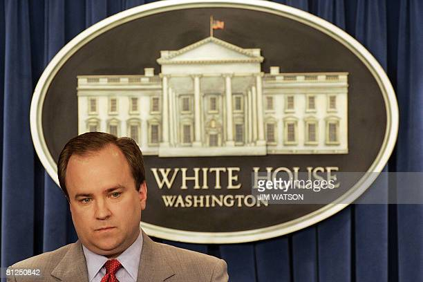 This April 18 2007 file photo shows then White House spokesman Scott McClellan during a press breifing at the White House in Washington DC one day...