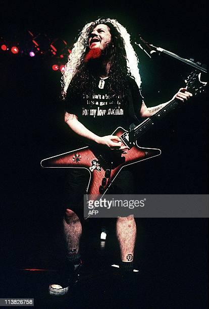 "This April, 1994 photo shows guitarist Darrell ""Dimebag"" Abbott of the US heavy metal band Pantera in concert at Kosei Nenkin Hall in Tokyo, Japan...."