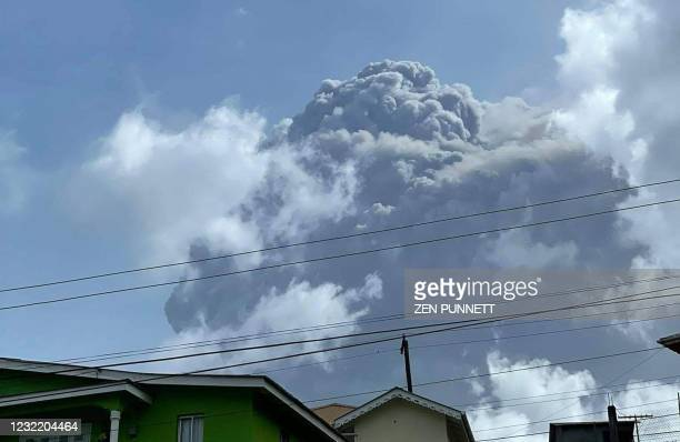This April 9 image courtesy Zen Punnett shows the eruption of La Soufriere Volcano from Rillan Hill in Saint Vincent. - La Soufriere erupted Friday...