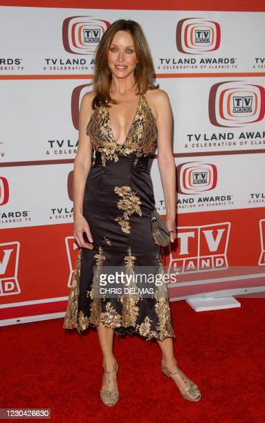 This archive photo shows actress Tanya Roberts arrives for the 4th annual TV Land awards held at Barker hangar in Santa Monica, California on March...