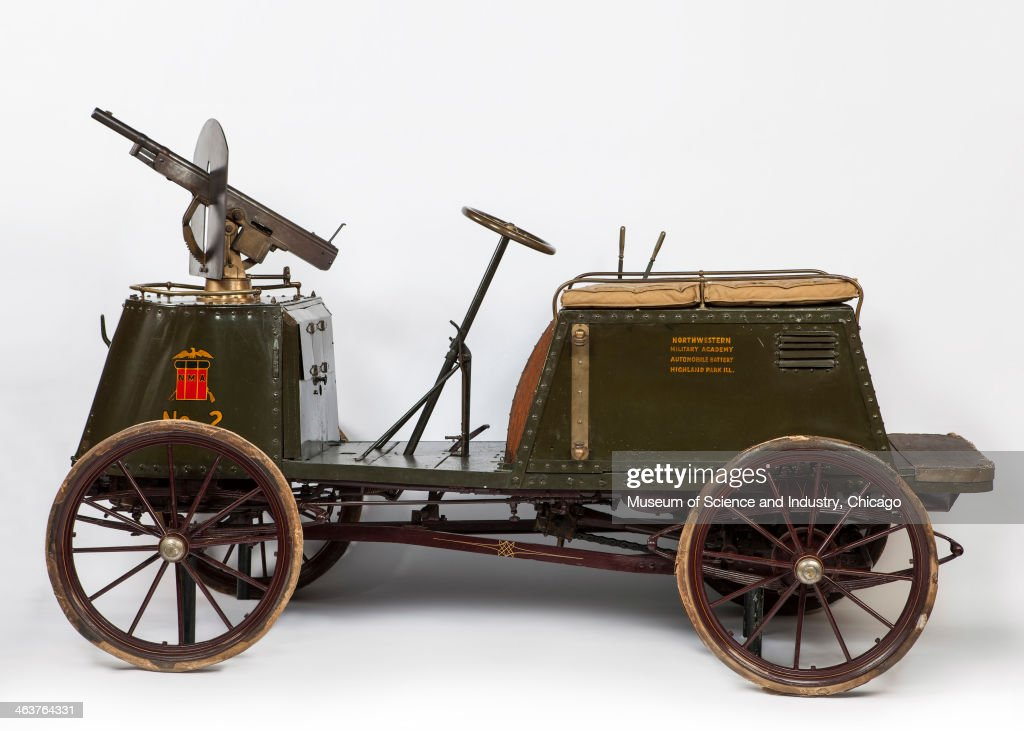 This Armored Car, designed and built by Major Royal Davidson at the Northwestern Military Academy circa 1900, is one of the earliest self-powered military vehicles and was outfitted with a steam engine and a Colt gun mounted to a rotating base, from the automobile collection at the Museum of Science and Industry, Chicago, Illinois, June 11, 2013.