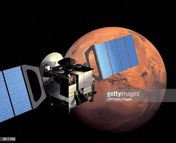 This artist impression image released by European Space Agency shows Mars Express in orbit around Mars Mars Express launched by a Soyuz fregat 02...